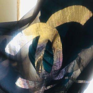 Chanel Scarf. Black & Gold. Sheer 100% Silk.